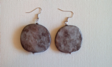 Grey acrylic pendant earrings